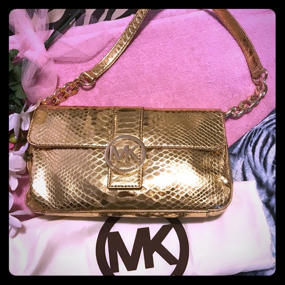 e958e763577a Michael Kors Bags | Auth Mk Gold Python Shoulder Bag Small Wduster ...